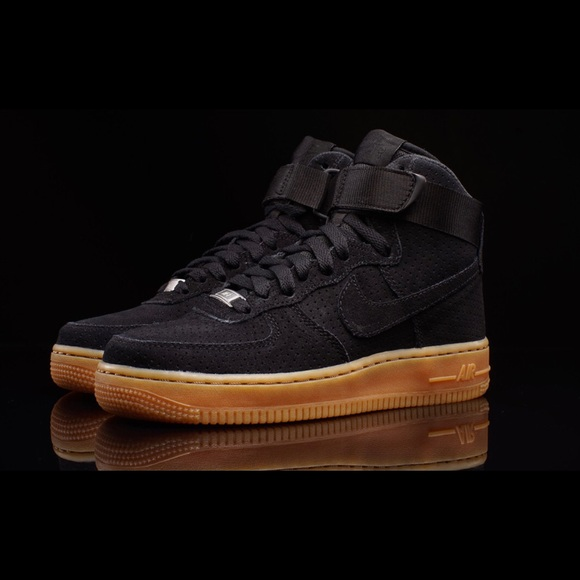 Air Force 1 high top black suede sneakers size 10